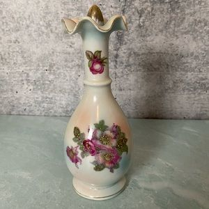 Vintage white floral bottle with stopper stamped